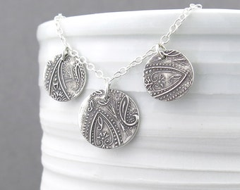 Sterling Silver Necklace Pendant Silver Circle Necklace Paisley Necklace Silver Layered Necklace Bohemian Jewelry Handmade - Serenity