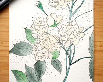 Flower, botanical painting, original watercolor art