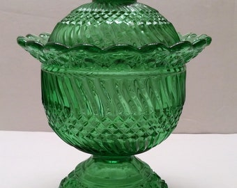 LG Wright Jersey Swirl Green Covered Compote/Candy Jar