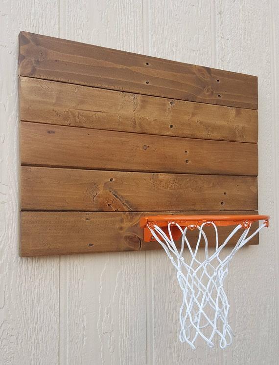 Rustic Wood Basketball Hoop. Reclaimed Wood Wall Mounted