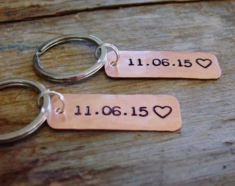 Personalized Couples Gift, Matching Set of 2 Keychains, Custom Date & Heart, Copper Anniversary, 7th Anniversary Gift, Husband Wife Gifts