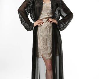 Sheer Black Embellished Gown ~ Overcoat