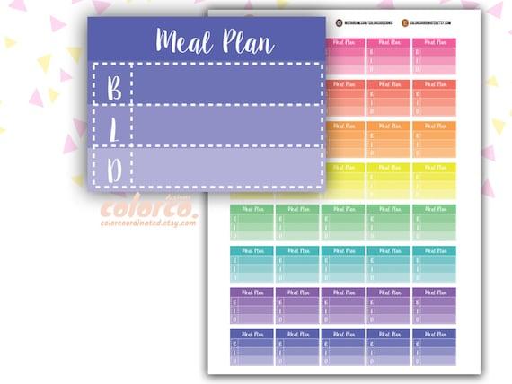 meal plan tracker printable planner stickers erin condren