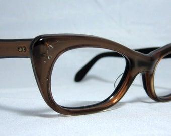 Vintage Cat Eye Glasses. Angular bronze on black cat eyes.