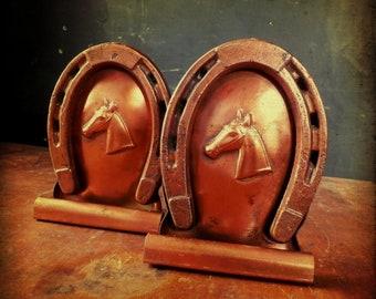 Vintage 1950s Copper Western Horseshoe Bookends