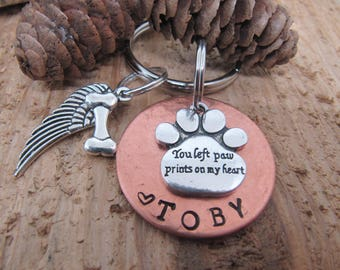 Dog memorial, Cat memorial,  Pet memorial key chain, loss of pet, Sympathy gift, Memorial for loss of pet, you left paw prints on my heart