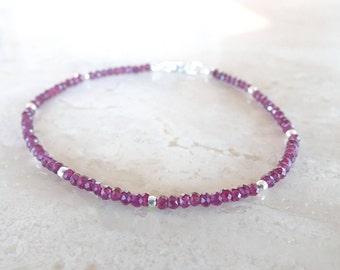 Garnet bracelet skinny bracelet Mother's Day Gift for her January birthstone delicate Garnet bracelet  Dainty garnet beaded bracelet