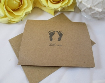 Kraft Thank You Cards - Baby Cards - Baby Shower Cards - Welcome Baby Cards -  Baby Footprint Cards - Baby Thank You Note Cards