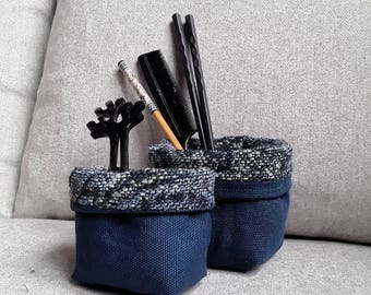 Decorative storage basket, Wool storage bin, couple of fabric basket, desk organizer for man, dark blu dorm decor. Handmade basket for home