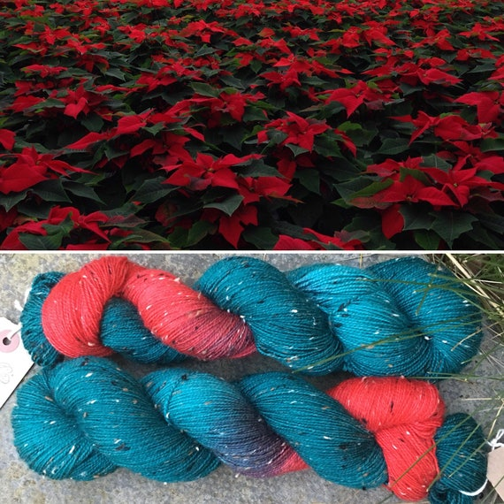 Poinsettia Donegal Sock, 4ply merino yarn with neps