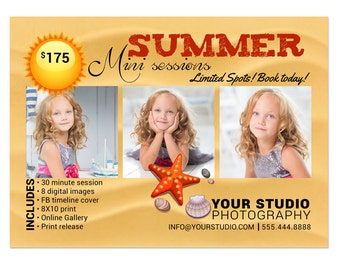 Summer Mini Sessions Template - 5x7 Marketing Board 011 for Professional Photographers