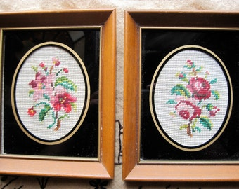 Pair of Vintage Framed Needlepoint Flower Pictures