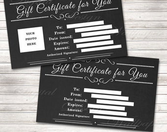 Chalkboard Gift Certificate Printable Gift Certificate Download Chalkboard Last Minute Gift Idea Gift Card Printable Chalkboard Gift Card