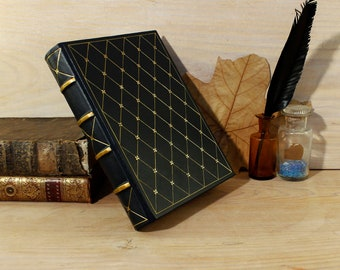 Leather journal, Dark blue with gold decoration, A Sky Full of Stars