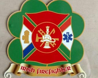 "Irish Firefighter EMS Clover Star of Life Decal 4"""