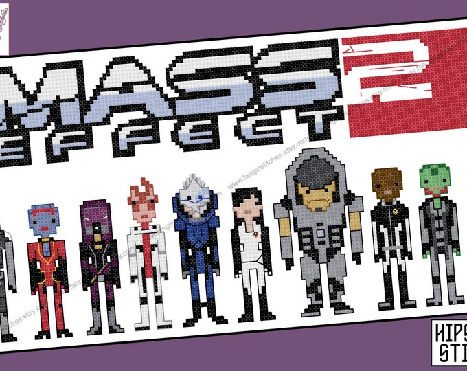 Mass Effect 2 Two themed cross stitch - PDF Pattern - INSTANT DOWNLOAD