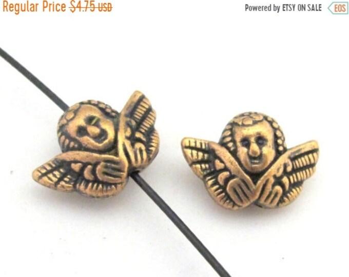 SALE 10 BEADS - Rustic copper tone angel cherub metal beads  - BD670
