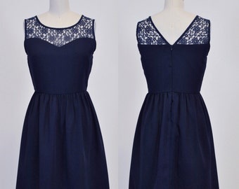 LORRAINE (Navy) : Navy chiffon dress, lace sweetheart neckline, vintage inspired, party, day, bridesmaid