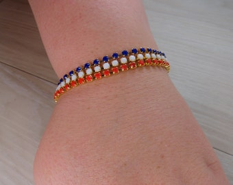 Patriotic Red White and Blue Austrian Crystal bracelet, 4th of july bracelet, july 4th bracelet