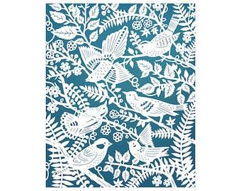 11x14 Fine Art Print - Wild Birds - Original Papercut Illustration Print
