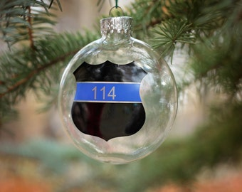 Police Officer Ornament / Personalized Ornament / Christmas Ornament / First Responder / Custom Gift / Christmas Ball / Law Enforcement