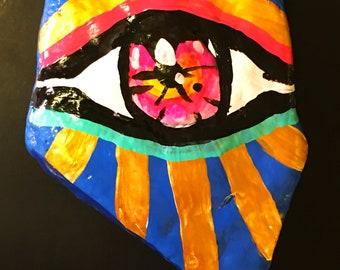third eye meditation stone energy chakras pop art painting evil eye hand painted blue gold