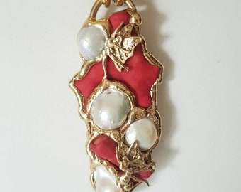 Coral and pearls choker