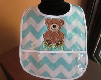 FIRST BIRTHDAY BIB Teddy Bear Bib with Name Embroidered