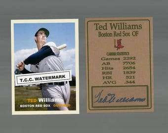 Ted Williams Boston Red Sox New, Custom made 1957 Style Baseball Card. Mint Condition.