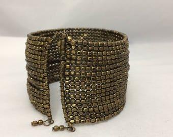 Gold Bracelet Vintage Brass Bracelet Patina Cuff Bracelet Antique Jewelry Vintage Jewelry Oxidized Brass Bracelet