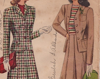 1940s Simplicity 4548 Women's Jacket Skirt Suit Vintage Perforated Sewing Pattern, Size 14, Bust 32, Complete