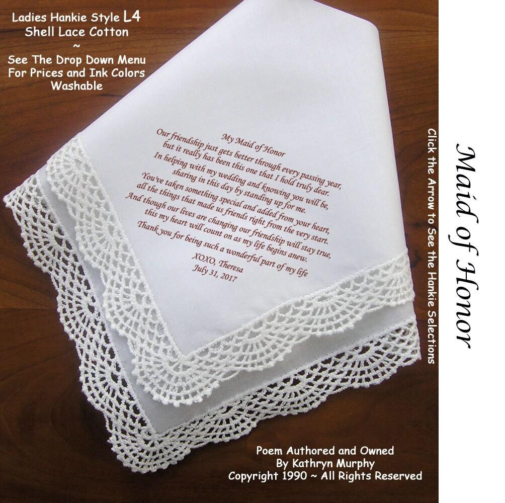 For My Maid Of Honor Gift Handkerchief 0903 5 Wedding Hankie