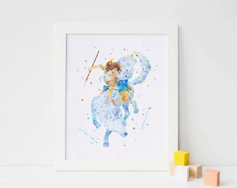Princess Mononoke print Watercolor Studio Ghibli Print,  Hayao miyazaki poster cartoon art anime wall art download, Spirit, Monster Princess