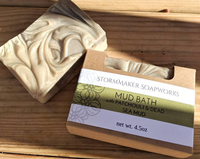 Featured listing image: Mud Bath, All Natural Patchouli Soap with Dead Sea Mud and Clay's, Palm Free