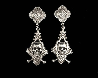 Skull & crossbones earrings // silver plated // 2 inches // Victorian style // sterling posts // skull jewelry