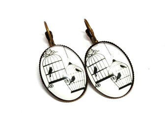 Stud Earrings, birds on a white background