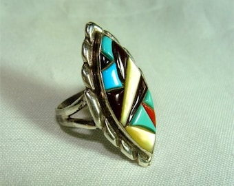 STERLING Signed Zuni Native Indian RING Multi Color Stones 7 1/2