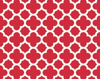 Red Quatrafoil Home Decor Fabric ~ Cotton Duck ~ Riley Blake ~ Sold by the Yard