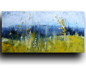 Mountain View, landscape painting,ORIGINAL art, Abstract Painting, canvas Art, Wall Art, Spring, green, oil painting by Tatjana Ruzin -