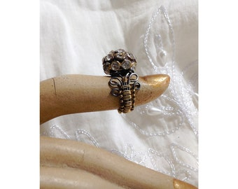Brass and Steel with Rhinestone button Solitaire