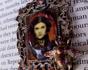 Steampunk Star Wars (N717) Princess Leia Portrait, Silver Plated with Sparkle Patina Frame and Chain, Bee and Swarovski Crystal