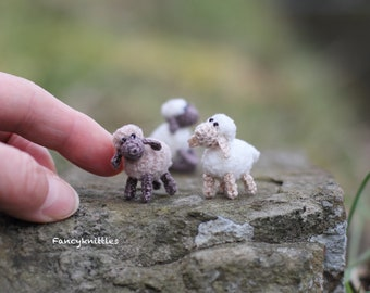 Miniature Crochet Easter Sheep Doll, Dollhouse Toy Pet Animal, Tiny Winy Soft Plush Lamb Collectable Gift for Miniature Lovers, Fairy Garden