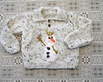Hand knitted Toddler boy jumper-Olaf, Snowman jumper
