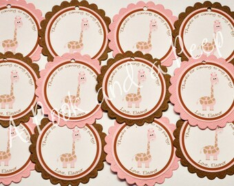 Pink and Brown Giraffe Personalized Birthday or Shower Favor tags or Stickers Set of 12