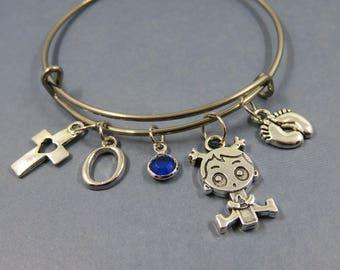 Bracelet bangle Bangle silver theme baby shower, baby baptism letter alphabet initial birthstone