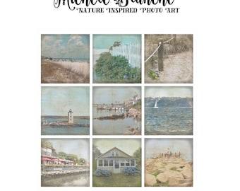 Day of the Beach Set, Ozean Urlaub Haus drucken, Sea Shore Sommer Fotografie, Beachy Drucke, Vintage Look Ocean Art Set von neun
