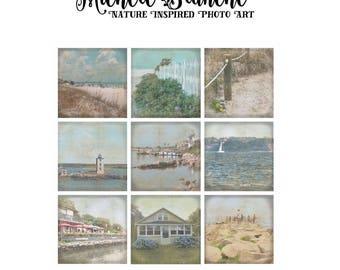 Beach Day Photo Set, Ocean Vacation House Print Set, Sea Shore Summer Photography, Beachy Prints, Vintage Look Ocean Art Set of Nine