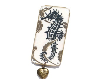 Deco Seahorse Brooch - Seahorse Brooch - Seahorse Jewelry - Seahorse - Ocean Jewelry - Deco Jewelry - Deco Brooch - Animal Jewelry