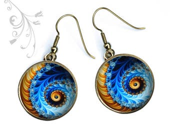Colored earrings spiral rainbow evening party