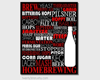 Homebrewing Typography Poster, Man Cave Art, Gift for Homebrewer, Micro brewer Gift, Craft Brewer Gift, Homebrew Art Print, Homebrew Gift
